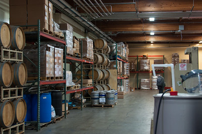 Barrels used for aging beer can be seen inside the Lagunitas brewery.