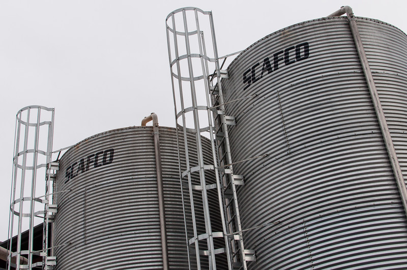 Several grain silos at the Lagunitas brewery.