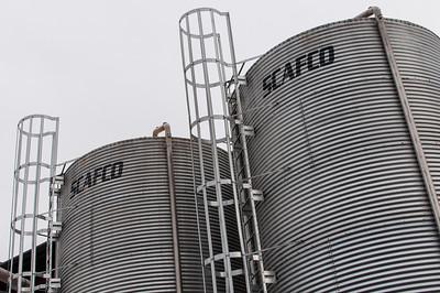 Several grain silos at the Lagunitas brewery.