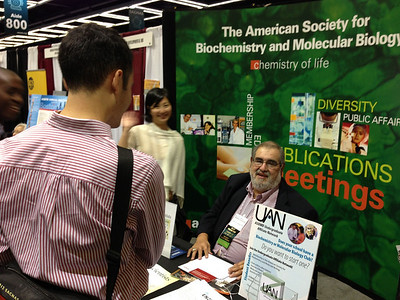 Ms. Weiyi Zhao (Education and Professional Development Manager) and Dr. Frank Talamantes (MAC Member) at the American Society for Biochemistry and Molecular Biology (ASBMB) exhibit booth at SACNAS 2012