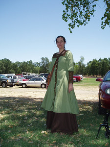 Yep, still Leigh. Sophia loaned her the outer garment and made the skirt for her from linen.