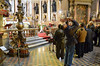 The bishops visit St. Januarius in Naples; Fr. Albert Lingwengwe is in the front, capturing the ceiling with his camera