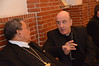 On Sunday, the bishops celebrated Mass with the Cristo Re parish community in Rome. Here Bishop Krieger (right) visits with Bishop Wagner Da Silva