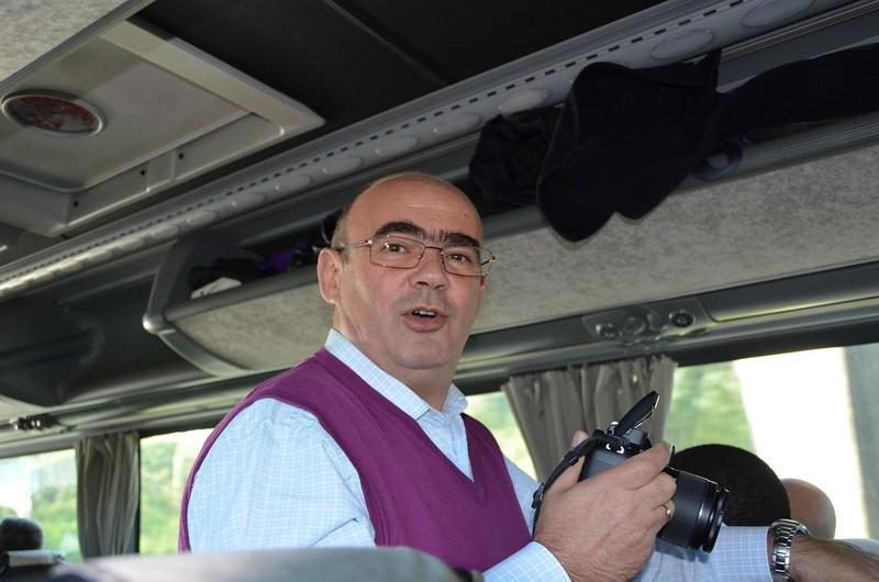 Fr. Jose Carlos Briñón, postulator general, on the bus with bishops to Naples