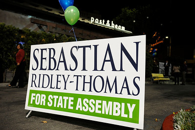 Los Angeles California: Sebastian Ridley-Thomas celebrates is win for State Assembly at the Post and Beam on December 3, 2013. Valerie Goodloe