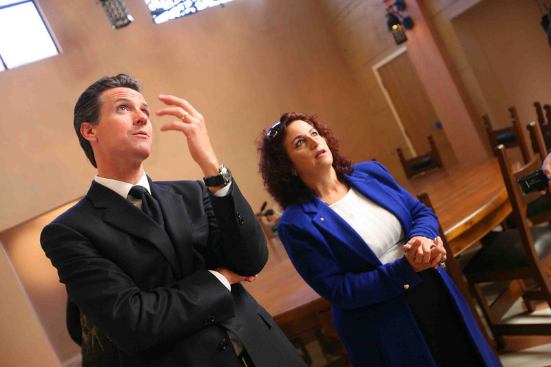 Mayor Gavin Newsom gets a first look at the National Shrine Of Saint Francis of Assis.  Inside Angela Alioto tells the mayor about the siteÕs history.  The event was to announce, ÒThe Renaissance ProjectÓ, a plan to transform the location into an international Spiritual Center to serve as a place for peace and inspiration. The project spearheaded by Angela Alioto, began with the construction of the only replica of St. FrancisÕ famed, ÒPorziucolaÓ, or ÒLittle corner of the worldÓ. St. Francis himself originally restored the original location in his home city of Assisi, Italy.