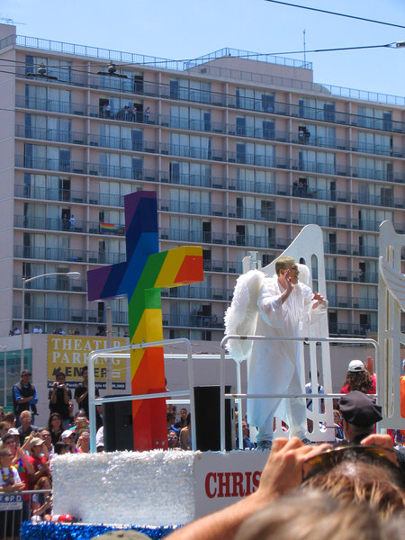 Christians and Gay= OK angel with rainbow cross at Pride Fest SF 2006
