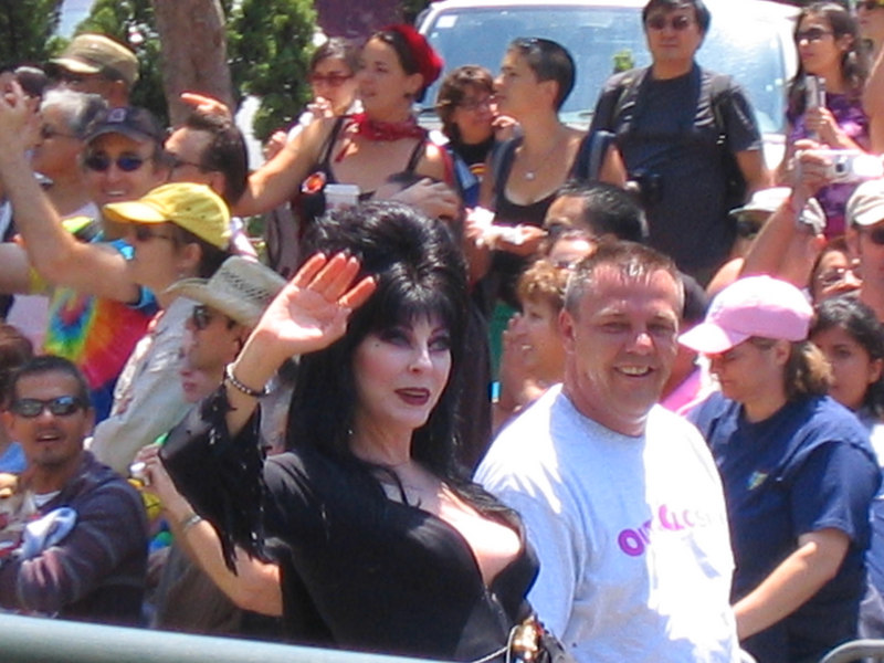 Elvira Mistress of Darkness at Parade, Pride Fest SF