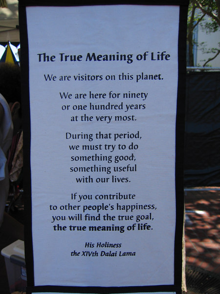 "In case you were wondering the ""True meaning of Life"" by Dalia Lama at Pride Fest SF"