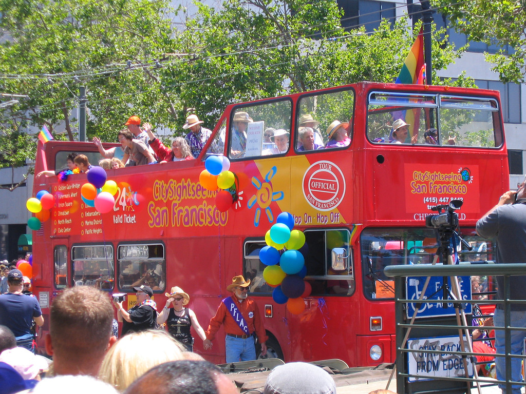 English double decker bust at Pride Fest SF 2006