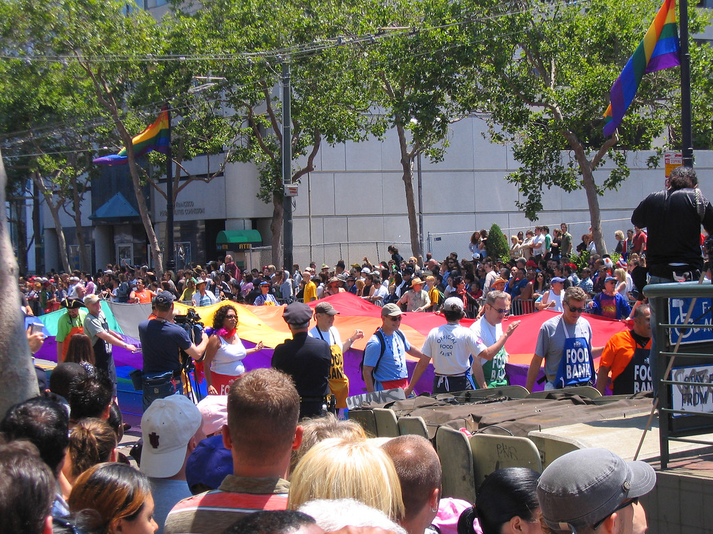 Giant Rainbow flag at Pride Fest