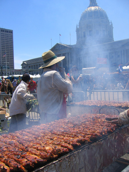 Awesome chicken Kabobs at Pride fest SF, 2006