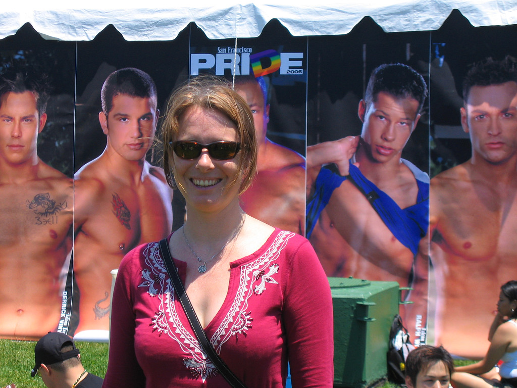 Sarah and her boys at Pride Fest SF, 2006