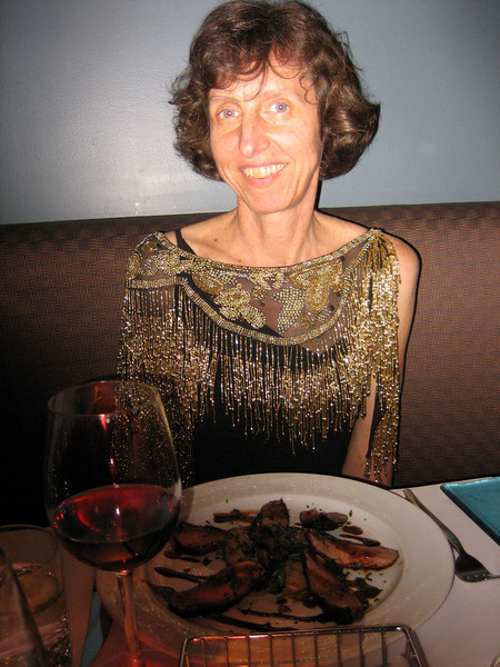 Dinner at paul k restaurant on Gough Street. There's a shadow over my duck because Andy put his finger over the flash.