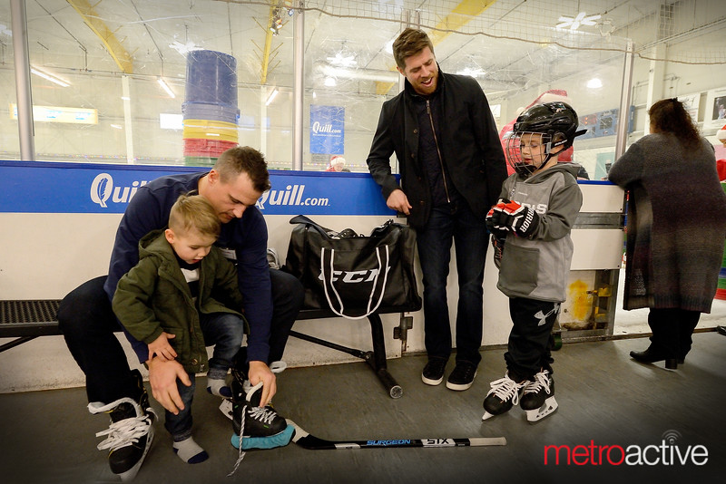 #38 Micheal Haley and #8 Joe Pavelski prep sons for practice