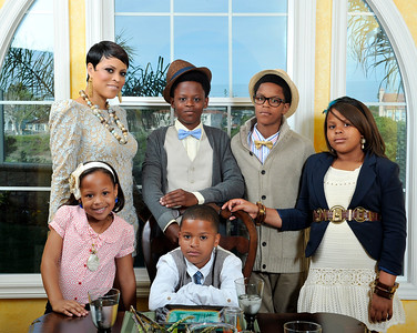 Shaunie O'Neal and Family at home Ebony Photo Shoot. Shaunie O'Neal and daughters Me'Arah 5 years and Mimi 9 years Boys Myles 14, Shareef 11, Shaqir 8 Valerie Goodloe