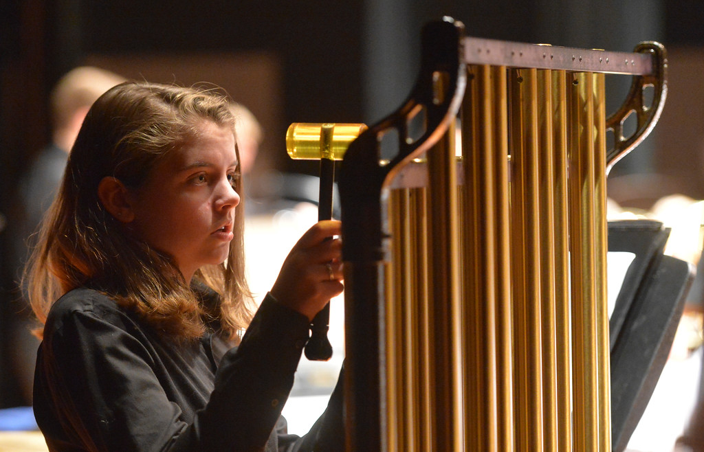 Justin Sheely | The Sheridan Press<br /> Student Kinsey Hegy plays notes on the chimes during the Sheridan High School band department's winter concert at the Sue Henry auditorium at Sheridan High School Tuesday, Dec. 19, 2017.