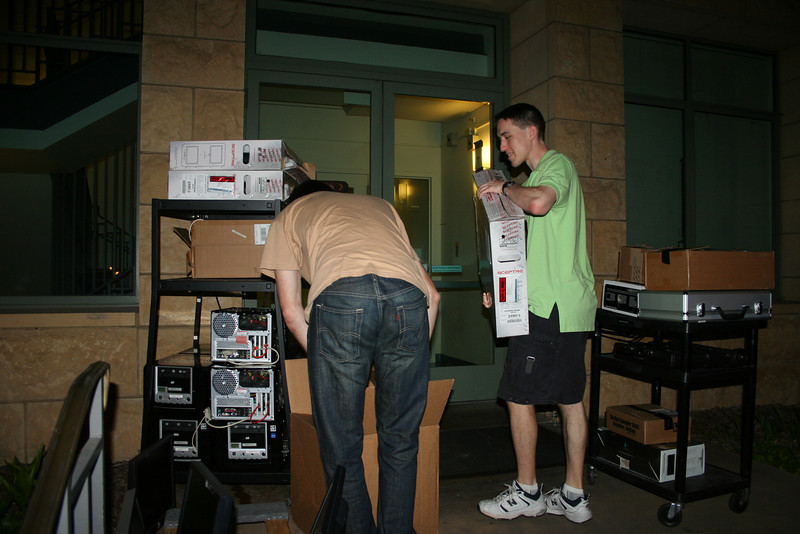 Adam, David, Brandon and Guido unpacking at Gates. We are done!