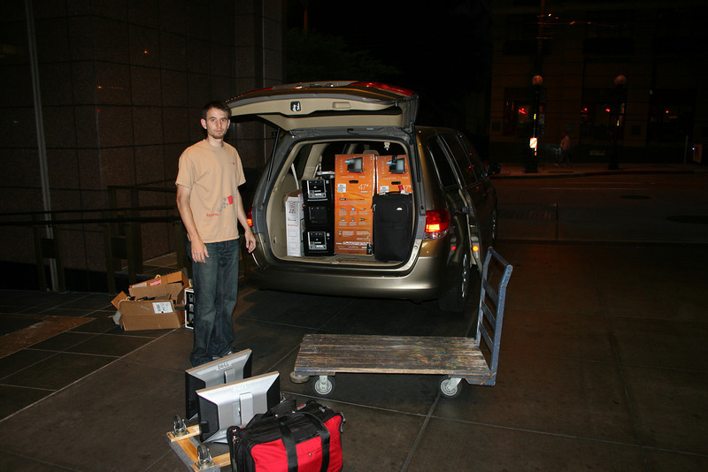 Packing the van at 5am for the 830 mile trip back to Stanford.