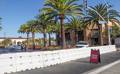 Shopping centers in Corona del Mar were barricaded.