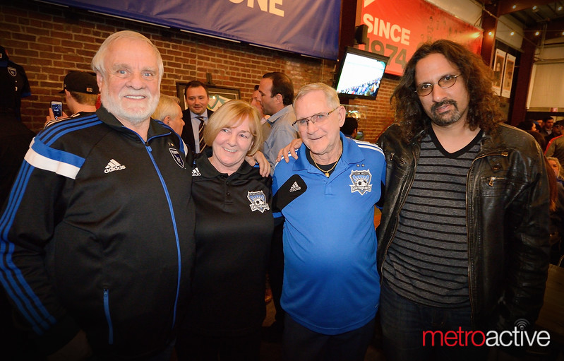 Metro columist and long time Quake fan Gary Singh (far right)