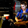 freshman (possibly a sophomore ??) Stephen Pearson plays percussion backstage for Aida.