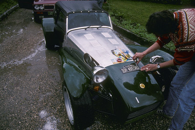 The president preparing his car for the very first Segny-Monte Carlo rally.