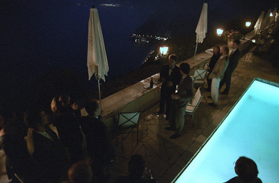 Apero and dinner at Chateau d'Eze. Here we are sabling a few bottles of Champagne.