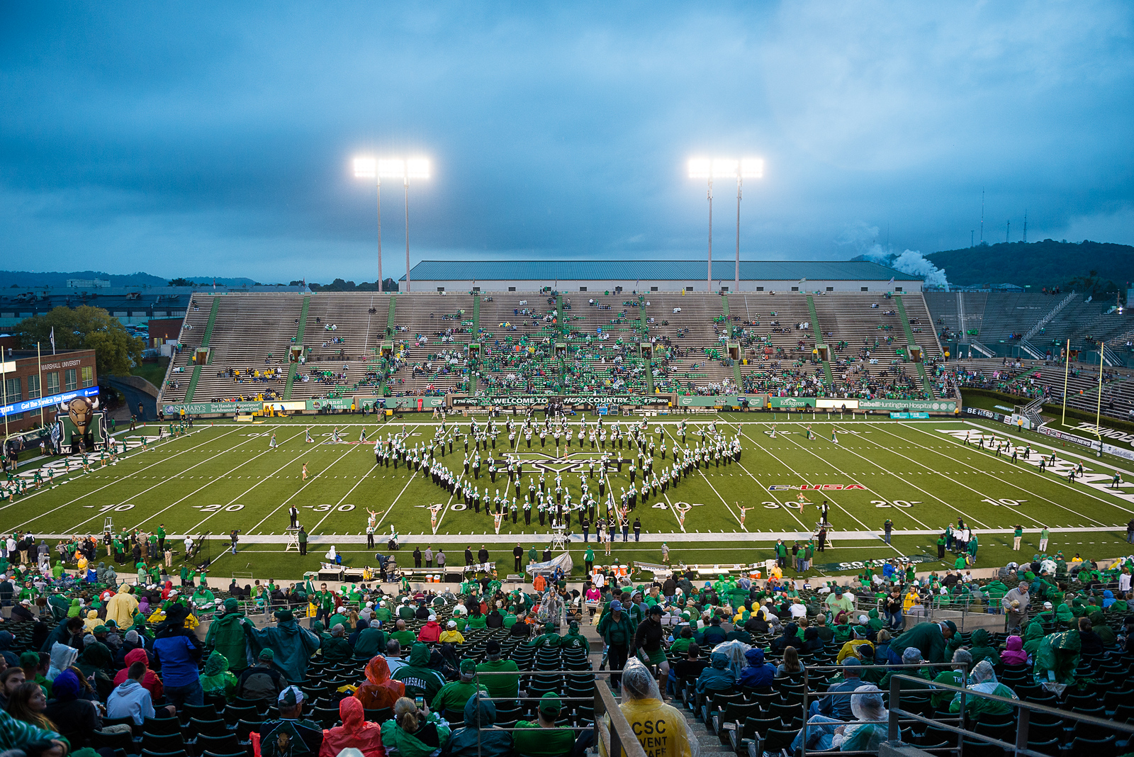 Marshall University football vs. Southern Mississippi University at Joan C. Edwards Stadium on the campus of Marshall University in Huntington, WV.  October 9, 2015.  (J. Alex Wilson)