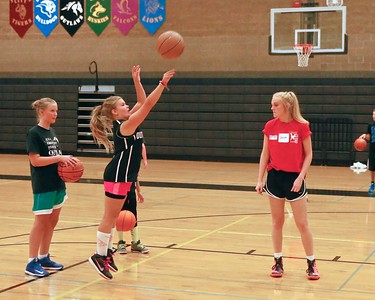The Southland Charlotte Swifts Girls Basketball team from Essex England coach @ SPRD BB Camp teaching the art of Basketball