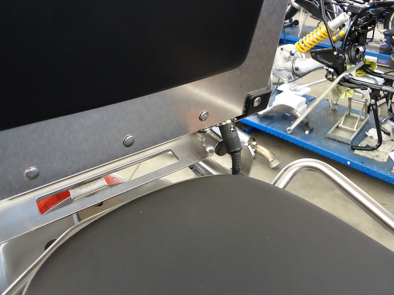 Completed case mounted on the bike - wiring can be seen at lower right of case.