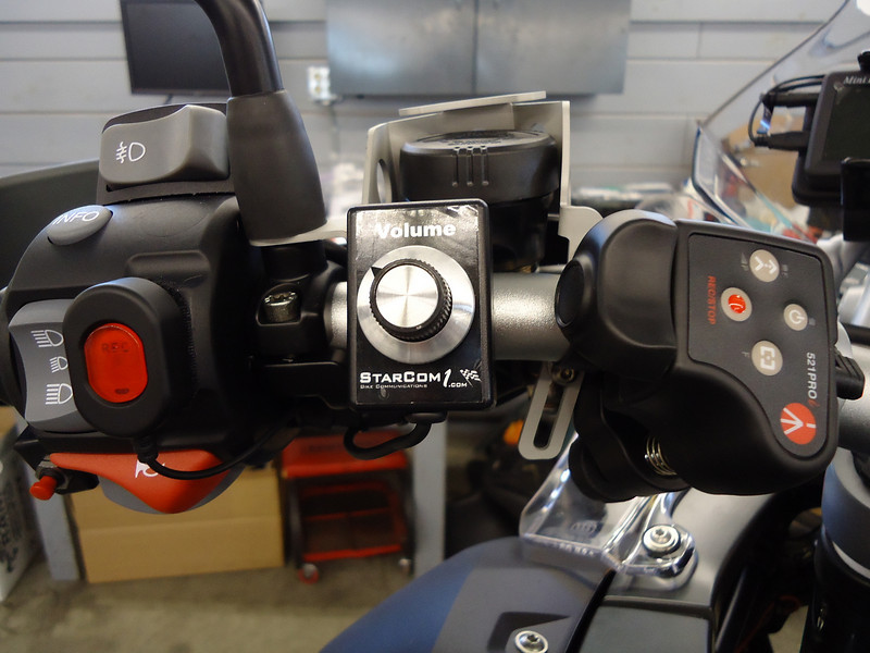 Left side switch gear controls cameras, communications and audio equipment.<br /> Push to talk (bike to bike) switch can be seen at lower left.