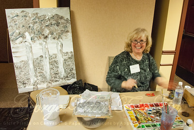 Artist Patty Thurlby (Primary Elements) at Stormy Weather Arts Festival Quick Draw event at Tolovana Inn
