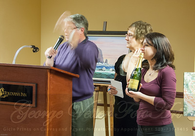 Auctioneer Paul Dueber, Helpers Sharon and Christine at the Stormy Weather Arts Festival Quick Draw event at Tolovana Inn