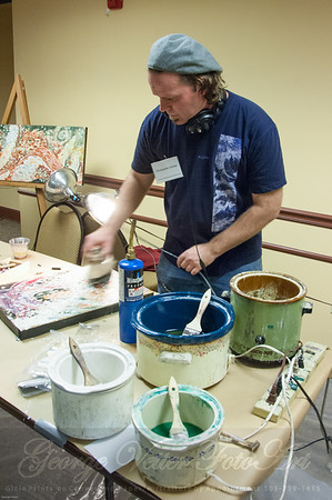Artist Christopher Gerber (DragonFire Gallery) at Stormy Weather Arts Festival Quick Draw event at Tolovana Inn