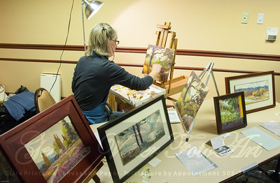 Artist Pam Fermanis (White Bird Gallery) at Stormy Weather Arts Festival Quick Draw event at Tolovana Inn