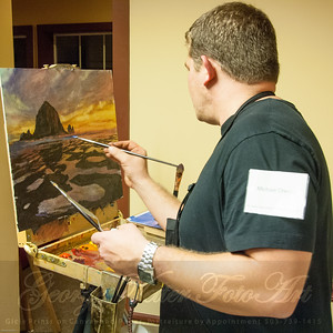 Artist at Michael Orwick (DragonFire Gallery) Stormy Weather Arts Festival Quick Draw event at Tolovana Inn