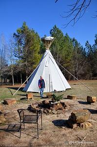 Dottie Davis and Teepee at Sacred Grove Retreat Center