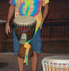 Kalima Tribal - drumming on Easy Street in Salisbury, NC Joe Sulkowski's colorful drum.