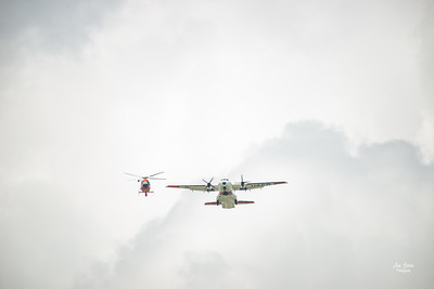 Hyundai Air & Sea Show Salute Flight US Coast Guard MH65 Helicopter and USCG C-144 Aircraft National Salute