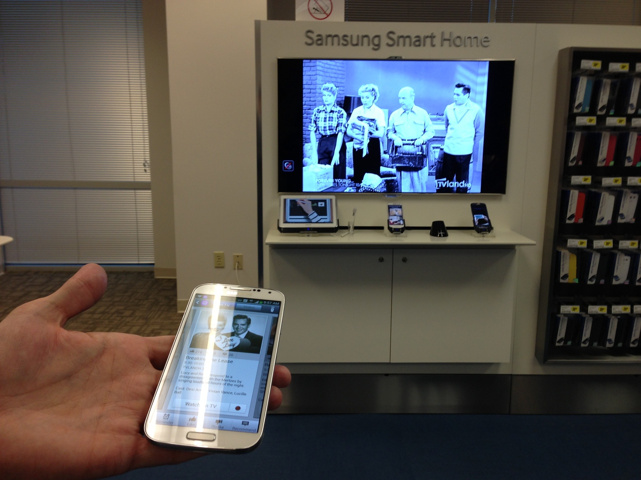 Among the features on the latest Galaxy S smartphone is the ability to search a variety of TV and video service listings and then change the channel on any brand of TV.