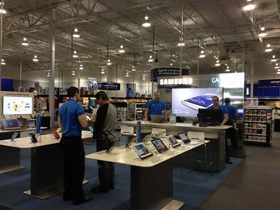 The Samsung Experience Shop inside the Best Buy in Lewisville, Texas occupies 460 square feet of prime retail space toward the front of the store.