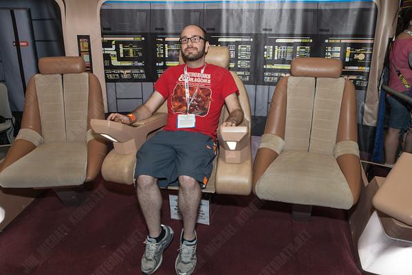 Suren hanging out on the Star Trek bridge.