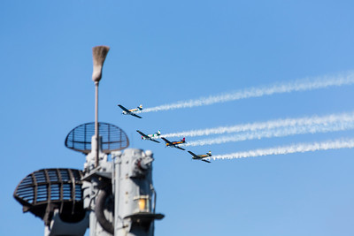 Blue Angels Practice Flight (10-9-2015) over the USS Pampanito. Fisherman's Wharf - San Francisco, CA, USA