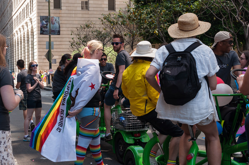 Google had several conference bikes leading the contingent.
