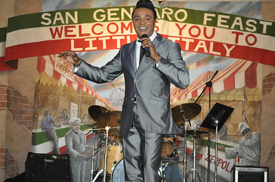 Entertainer Bobby Brooks Hamilton was BY FAR the Best Entertainer San Gennaro Festival has ever had. Bobby Brooks Hamilton entertainer in this photo at San Gennaro Feast held in 2010 at Silverton Casino in Las Vegas Picture by Mark Bowers of www.ReallyVegasPhoto.com san gennaro festival las vegas photograph