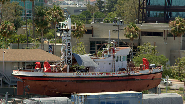 Ralph J. Scott fireboat, drydocked, awaiting volunteers and funding for restoration.