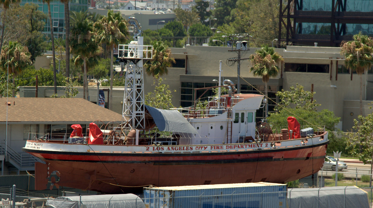 Ralph J. Scott fireboat, drydocked, awaiting volunteers and funding for restoration.