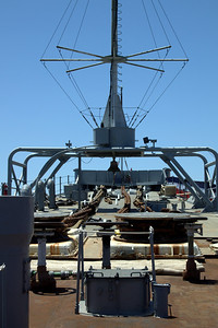 Looking at the bow of the USS Iowa.
