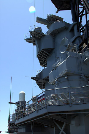 Looking up at the tower. Note the Phalanx gun system to the left.